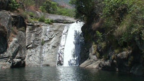 Malawi: waterfall in a dried river Footage