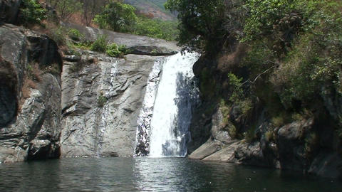 Malawi: waterfall in a dried river Stock Video Footage