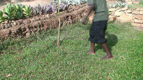 Malawi: african boy cuts grass in yard Footage