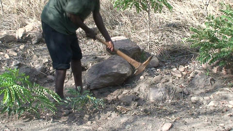 Malawi: african worker removes stones 2 Stock Video Footage