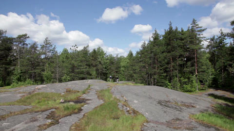 Bicycles on a rock Stock Video Footage