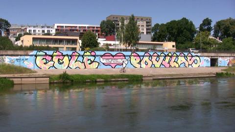 Wedding party graffiti on a wall Footage