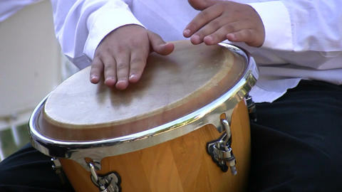 Drumming on conga drum 2 Footage
