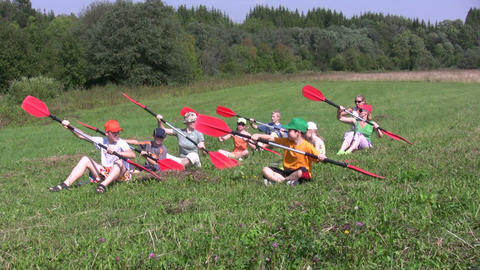 Canoe paddling training on a ground 1A Footage