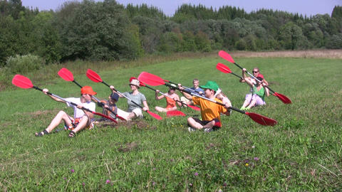 Canoe paddling training on a ground 1A Stock Video Footage