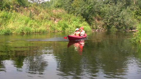 Canoe in a river 1 Footage