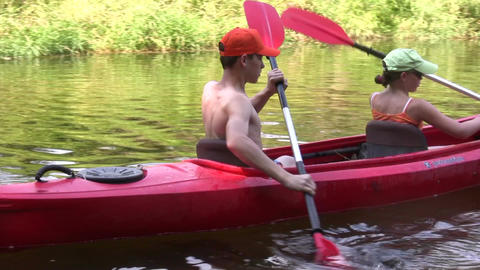 Canoe in a river 2 Footage