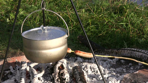 Cooking sausages in a campfire 2 Stock Video Footage