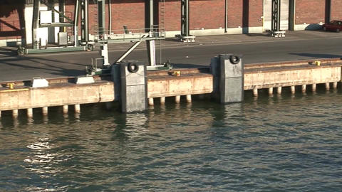 Passing by commercial wharf, close-up Stock Video Footage