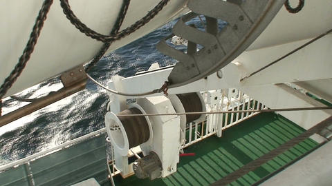 Bottom of lifeboat on cruise ship Stock Video Footage