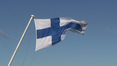 Finnish flag on passenger cruise ship one, close-up Stock Video Footage