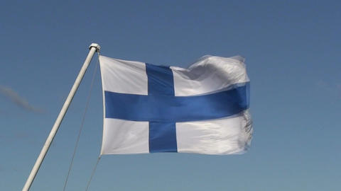 Finnish flag on passenger cruise ship one, close-up Footage