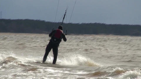 Kite surfing two in the Baltic sea Stock Video Footage