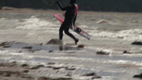 Kite surfing ten in the Baltic sea Stock Video Footage