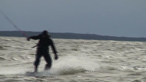 Kite surfing five in the Baltic sea Footage