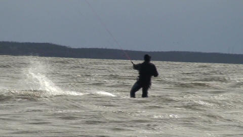 Kite surfing five in the Baltic sea Stock Video Footage