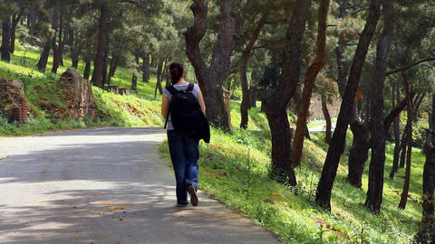 beautiful girl walking on the street 2 Stock Video Footage