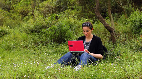 beautiful girl using computer in countryside 2 Stock Video Footage