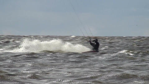 Kite surfing in the Baltic sea Stock Video Footage
