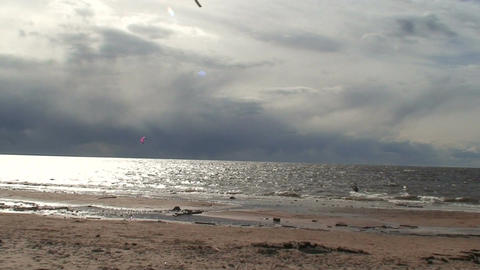Kite surfing eight in the Baltic sea Footage