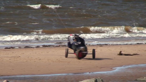 Kite and tricycle near the sea Stock Video Footage