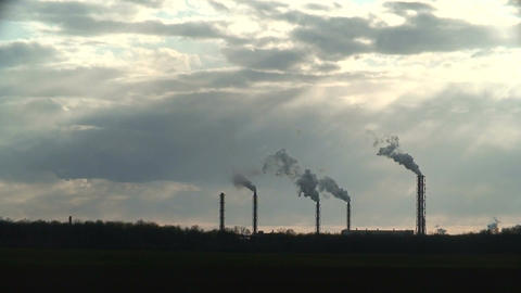 Smoke from chemical factory chimneys 3 Footage