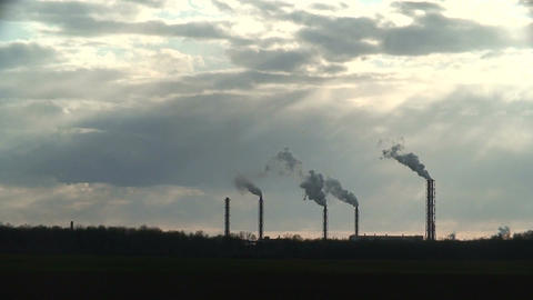 Smoke from chemical factory chimneys 3 Stock Video Footage