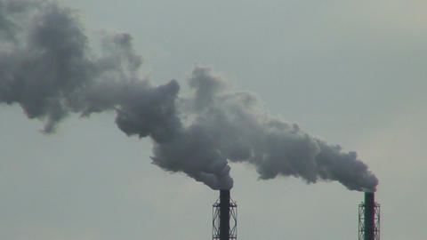Smoke from chemical factory chimneys two Footage