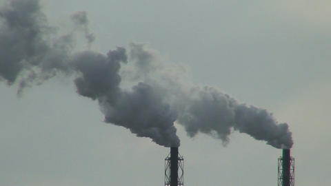 Smoke from chemical factory chimneys two Stock Video Footage