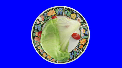 Time-lapse of wilting rotating salad 4ck with blue chroma... Stock Video Footage