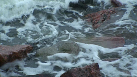 Background from waves at seashore two, close-up Stock Video Footage
