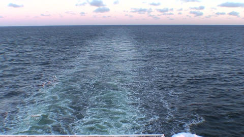 Stream of water waves after cruise ship, view Footage