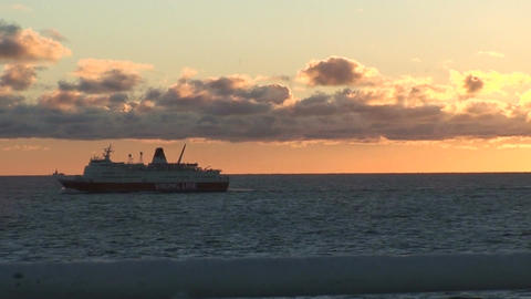 Sunset and water horizon from moving ship Stock Video Footage