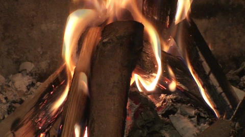 Fireplace burning flames close-up two Footage