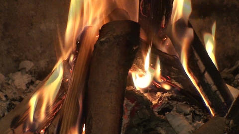Fireplace burning flames close-up two Stock Video Footage