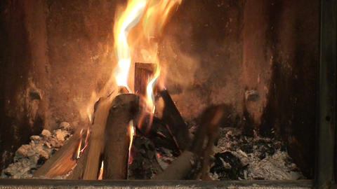 Fireplace burning flames background one Footage