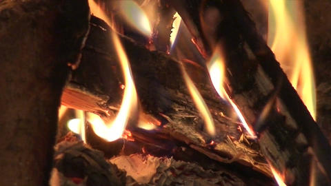 Fireplace burning flames background two Footage