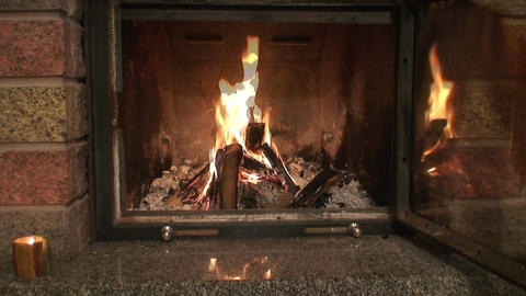 Fireplace with opened protection glass door Stock Video Footage