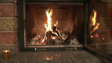 Fireplace with opened protection glass door Footage