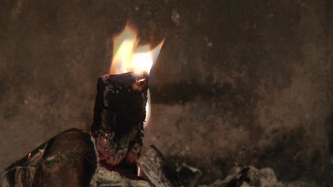 Piece of wood burning in fireplace, close-up Stock Video Footage