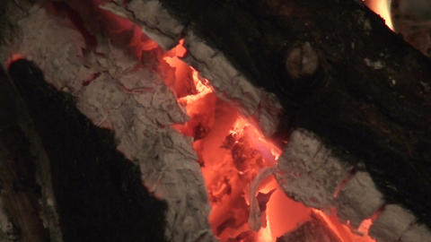 Fireplace burning wood log three, close-up Footage