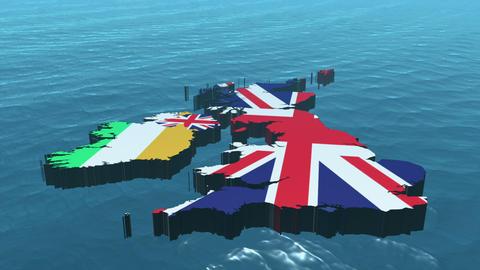 3D HD United Kingdom Map Stock Video Footage