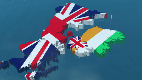 3D HD United Kingdom Map Stock Video Footage