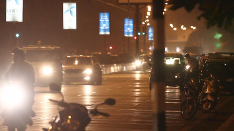night city with cars Stock Video Footage