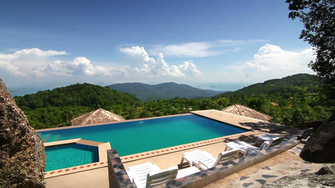 Luxury pool in the mountains Footage