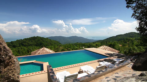 Luxury pool in the mountains Stock Video Footage
