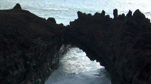 big wave rolling into lave bridge audio Stock Video Footage