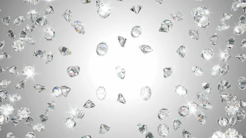 Diamonds scattering or flying away over studio light background Animation
