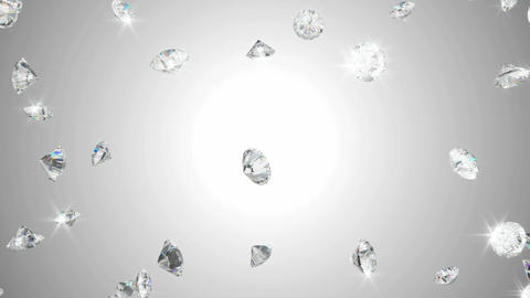 Diamonds scattering or flying away over studio light... Stock Video Footage