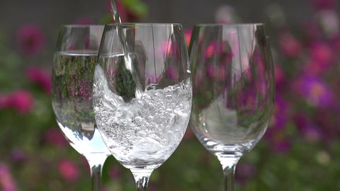 Clean Water is Poured into a Glass Footage